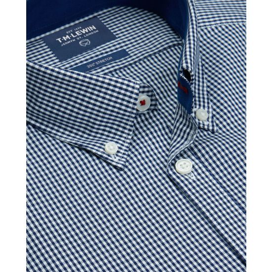 Casual Fitted Navy Gingham Button Cuff